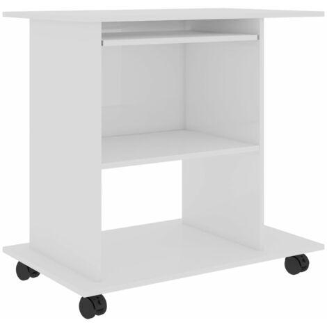 Computer Desk High Gloss White 80x50x75 cm Chipboard