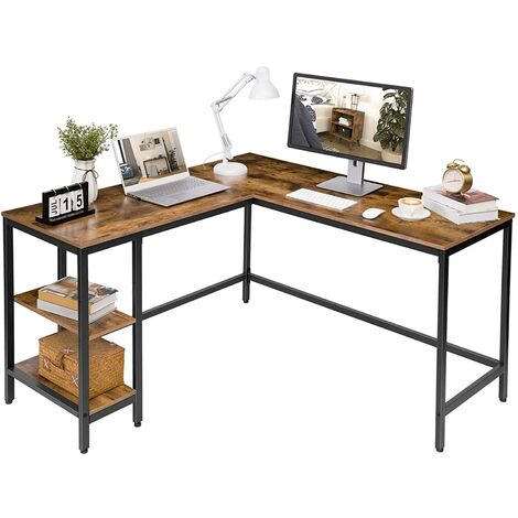 """main image of """"Computer Desk, L-Shaped Corner Desk, Office Writing Desk with 2 Shelves, Workstation for Home Office, Space-Saving, Industrial Gaming Table, Easy to Assemble, HOOBRO EBF35DN01 - Rustic Brown and Black"""""""