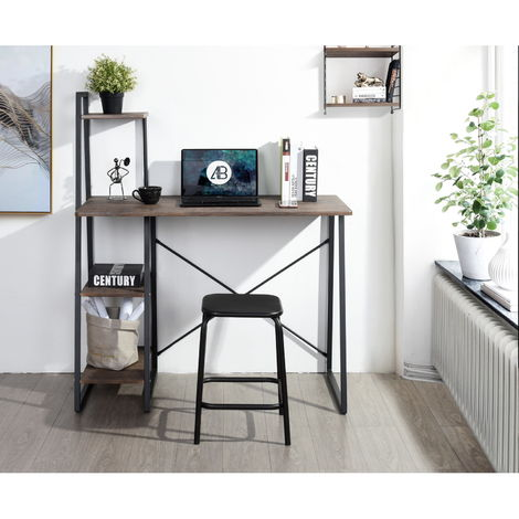 Computer Desk Modern Style Writing Study Table with 4 Tier Bookshelves Home Office Compact Multipurpose Workstation