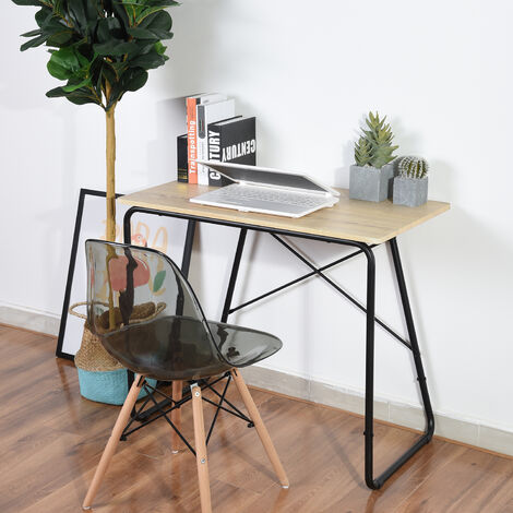 Computer desk office furniture PC wood and steel desk table, white + light oak