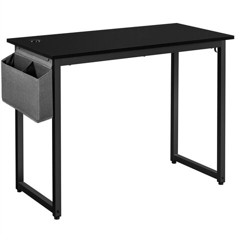 Computer Desk, Office Writing Desk, with Storage Bag and 2 Hooks for Home Office, 100x50x75cm Black Study Desk, Easy Assembly
