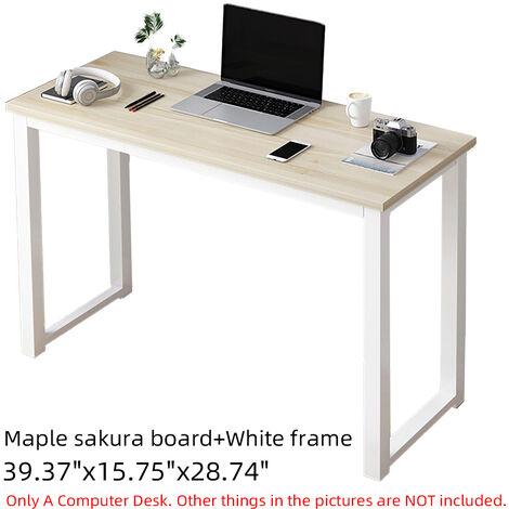 Computer Desk PC Laptop Workstation Table 100x40x73cm Maple+White