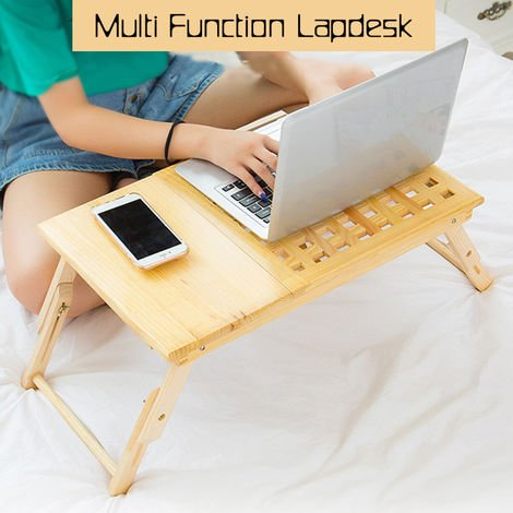 Computer Desk Portable Wooden Lapdesk Table Bed Tray Adjustable Breakfast Table Foldable Tilt Tray