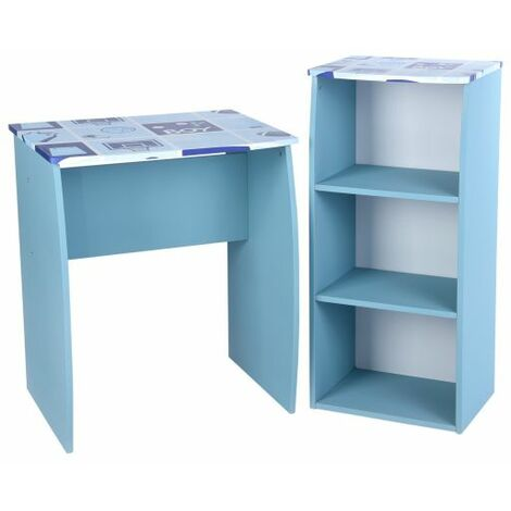 Computer Desk Set, Wooden Study Writing Desk with 3 Tiers Bookshelf Modern Style Small Workstation for Kids Adults, Blue