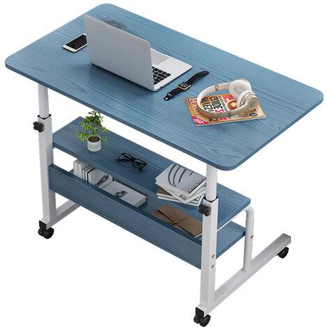 Computer Desk w/ Wheels Adjustable Laptop Cart Over Bed