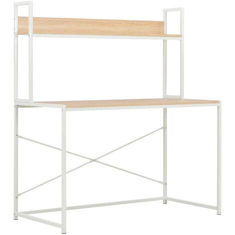 Computer Desk White and Oak 120x60x138 cm