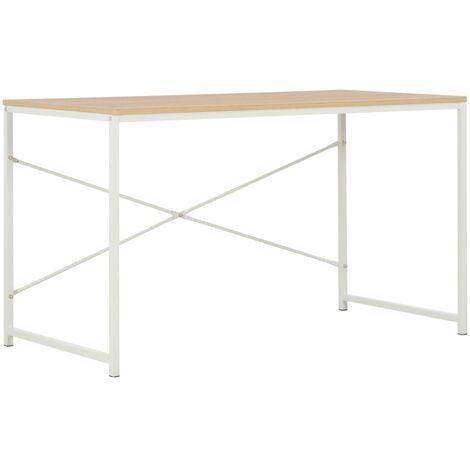 Computer Desk White and Oak 120x60x70 cm