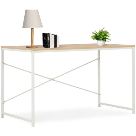 Computer Desk White and Oak 120x60x70 cm - White