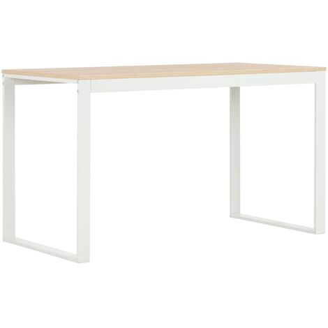 Computer Desk White and Oak 120x60x73 cm