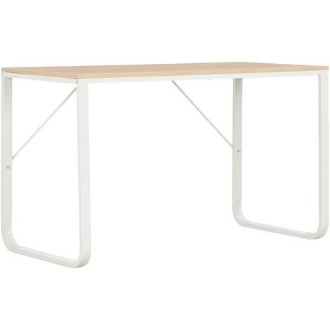 Computer Desk White and Oak 120x60x73 cm