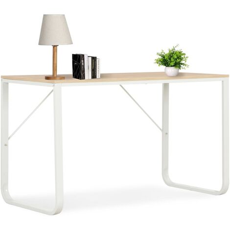 Computer Desk White and Oak 120x60x73 cm - White