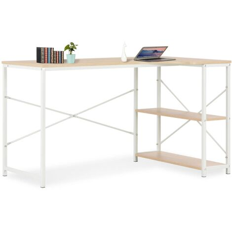 Computer Desk White and Oak 120x72x70 cm - White