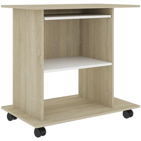 Computer Desk White and Sonoma Oak 80x50x75 cm Chipboard