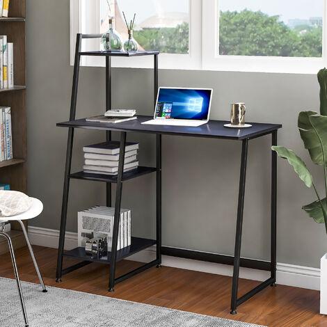 Computer Desk With 4 Tier Storage Shelves Desk, Black