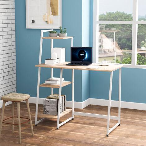 Computer Desk With 4 Tier Storage Shelves Desk, Natural