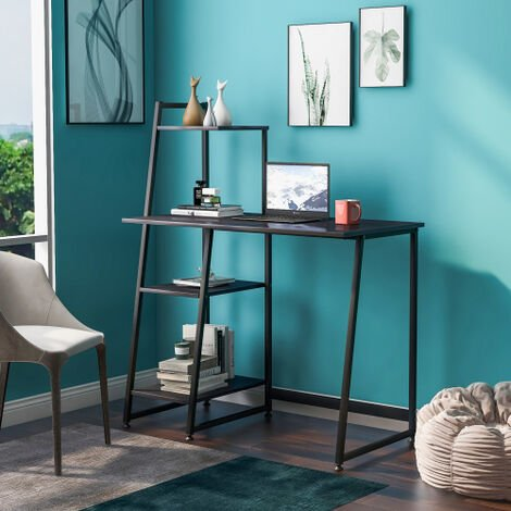 Computer Desk With 4 Tier Storage Shelves Desk Table Student Study Table with Bookshelf Writing Desk PC Laptop Table for Small Spaces Home Office Workstation