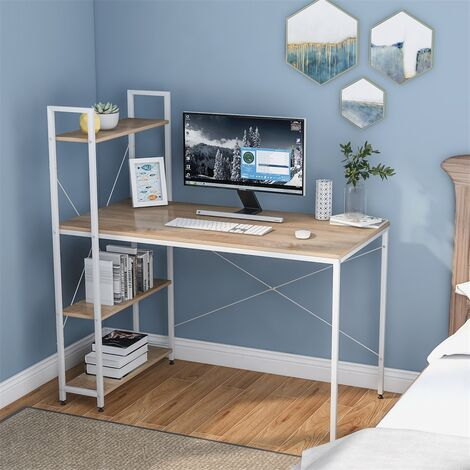 Computer Desk with 4 Tier Storage Shelves Study Table with Bookshelf for Small Spaces Home Office Workstation, Natural Colour