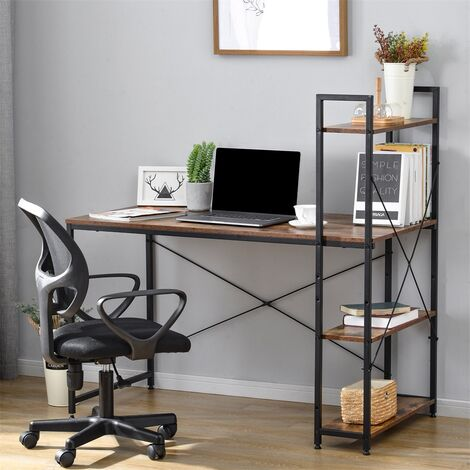 Computer Desk with 4 Tier Storage Shelves Study Table with Bookshelf for Small Spaces Home Office Workstation, Rustic Brown