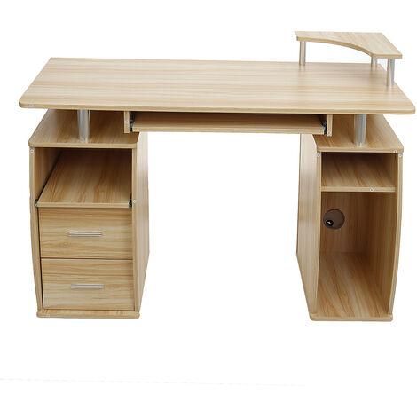 Computer Desk with Drawers Shelf PC Table Workstation 120*55*74cmcm Walnut
