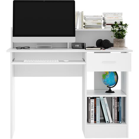 Computer Desk with Drawers Storage Shelf Keyboard Tray Laptop Table White