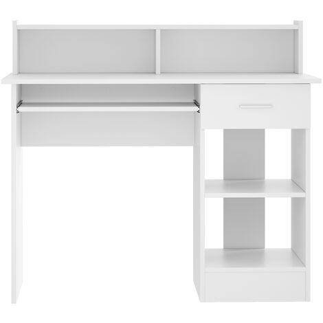 Computer Desk with Drawers White Storage Shelf Keyboard Tray Laptop Table