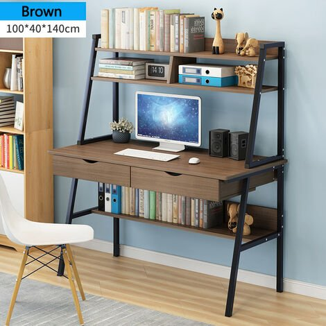 Computer Desk with Drawers Writing Desk Brown 100cm