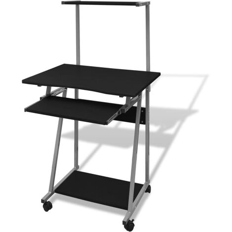 Computer Desk With Pull-out Keyboard Tray and Top Shelf Black - Black