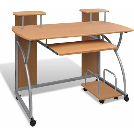 Computer Desk with Pull-out Keyboard Tray Brown