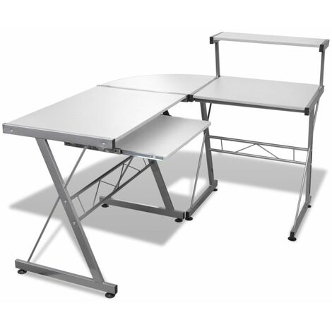 Computer Desk with Pull-out Keyboard Tray L-shaped White