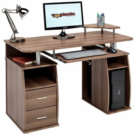 Computer Desk with Shelves, Cupboard and Drawers for Home Office in Dark Walnut Effect - Piranha Furniture Tetra PC 5w - Dark Walnut