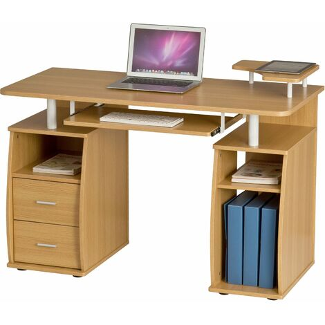 Computer Desk with Shelves, Cupboard and Drawers for Home Office in Oak Effect - Piranha Furniture Tetra PC 5o - Oak