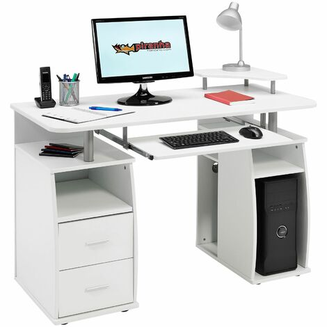 Computer Desk with Shelves, Cupboard and Drawers for Home Office in White Woodgrain Effect - Piranha Furniture Tetra PC 5s - White Woodgrain