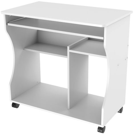 Computer Desk with Wheels & Shelves White MDF for Office Home PC Laptop Study