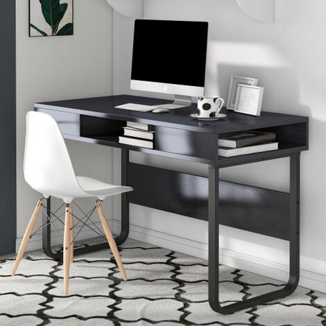 Computer Desk Work Table with 3 Shelves for Office and Home, PC Laptop Table with Steel Frame and Bookshelf, Easy Assembly, Industrial Style (Black)