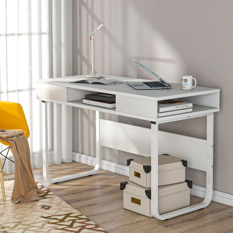 Computer Desk Work Table with 3 Shelves for Office and Home, PC Laptop Table with Steel Frame and Bookshelf, Easy Assembly, Industrial Style (White)