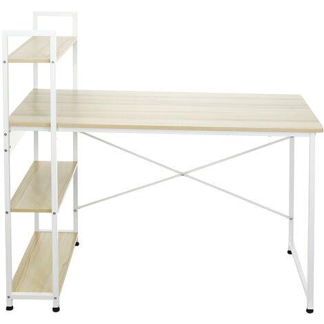 Computer Desk Writing Desk Table w/ Storage Shelves Workstation Industrial Style