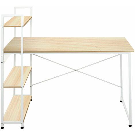 Computer Desk Writing Laptop Table 4-tier Bookshelf  Industrial Style