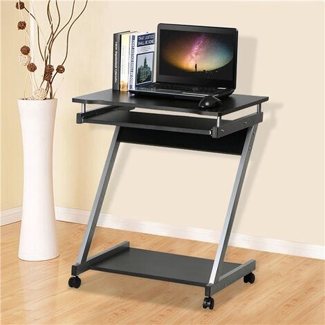 Computer Desk Z-Shaped with Keyboard Shelf Home Office Study PC Table Furniture,