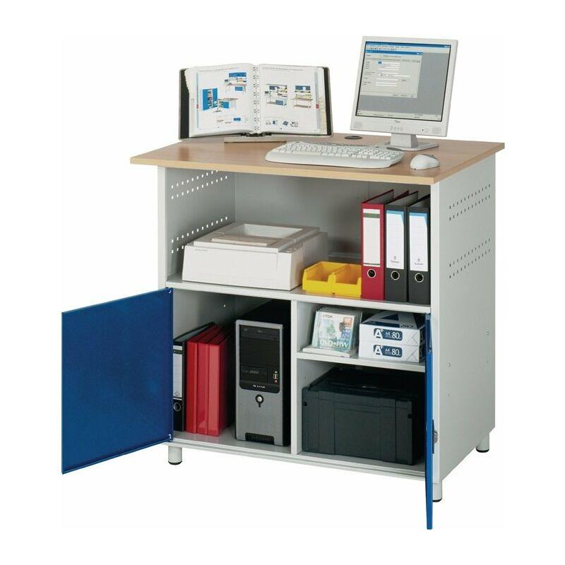 Computertisch H1810xB1100xT800mm stationär enzianblau lichtg - RAU
