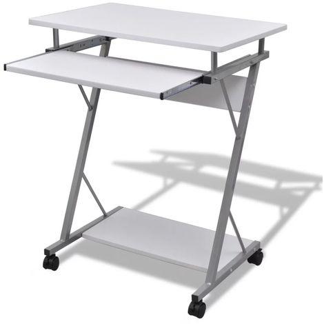 Computertisch Computerwagen PC Tisch Bürotisch Laptop auf Rollen weiß