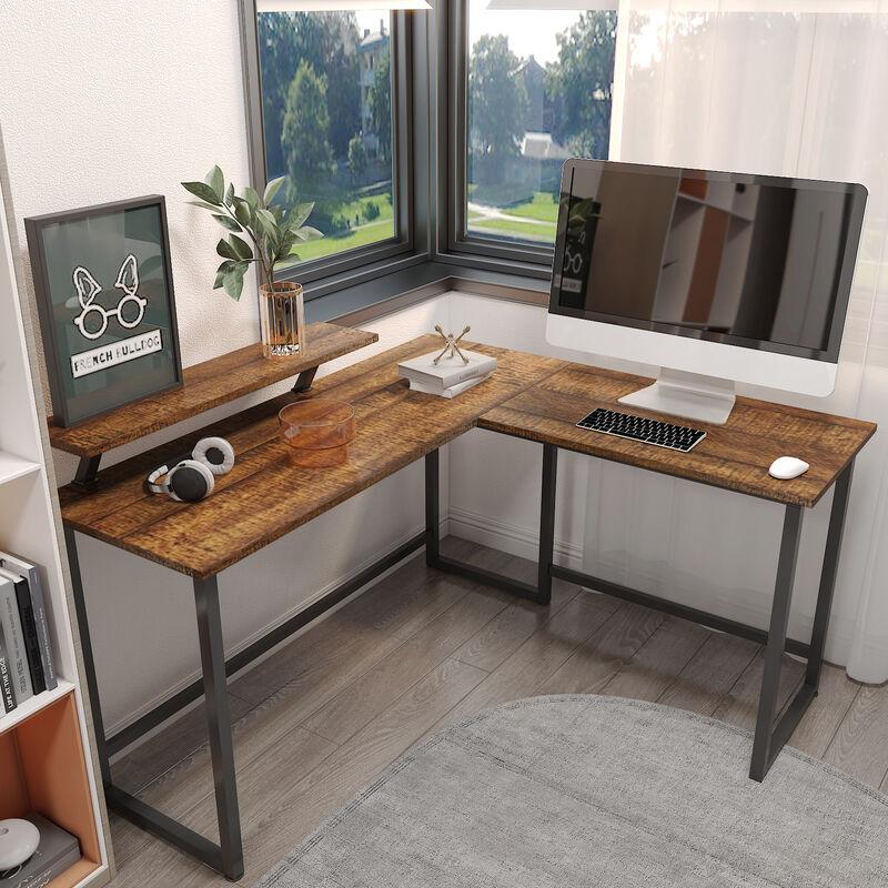 Meerveil - Computertisch, L-förmiger Eckschreibtisch, Arbeitstisch, Laptoptisch, Schreibtisch, Abnehmbarer Monitorständer, Vintage Industriestil, aus