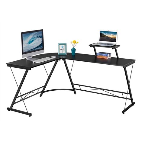 Computertisch L-förmiger Schreibtisch mit Holz-Monitorständer Eckschreibtisch Arbeitstisch PC Gaming-Schreibtisch mit Gestell, 162,5 x 130 x 96,5 cm