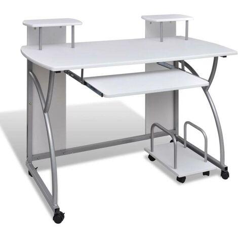 Computertisch PC Tisch Mobiler Computerwagen Bürotisch Laptop weiß 07403