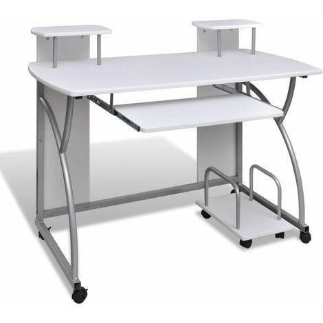 Computertisch PC Tisch Mobiler Computerwagen Bürotisch Laptop weiß DDH07403