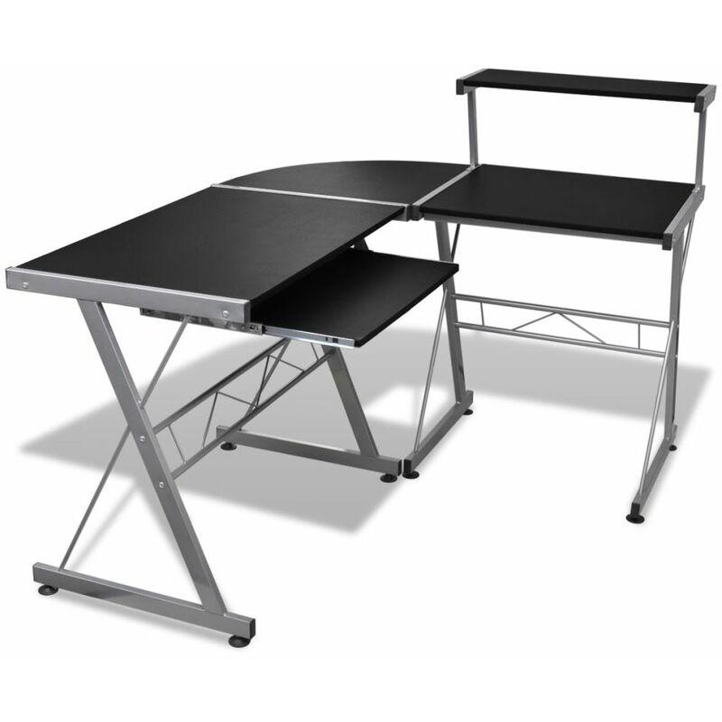 Computertisch Schreibtisch Arbeitstisch Ecktisch PC Tisch Büro schwarz - ZQYRLAR