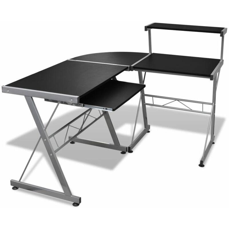 Computertisch mit Ausziehbarer Tastaturablage L-förmig Schwarz - VIDAXL