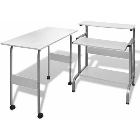 Computertisch Schreibtisch Computerwagen PC Tisch Bürotisch weiß DDH07409