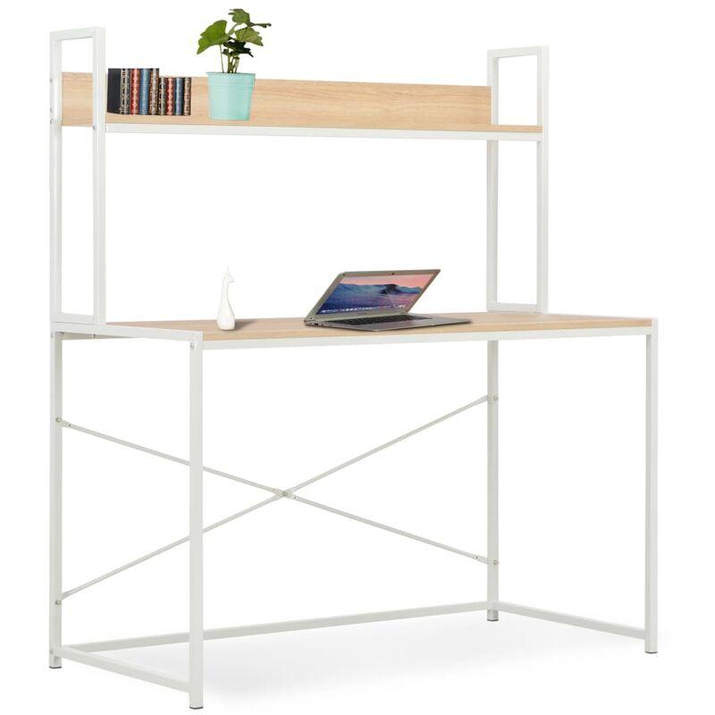 Computertisch Weiß und Eiche 120×60×138 cm