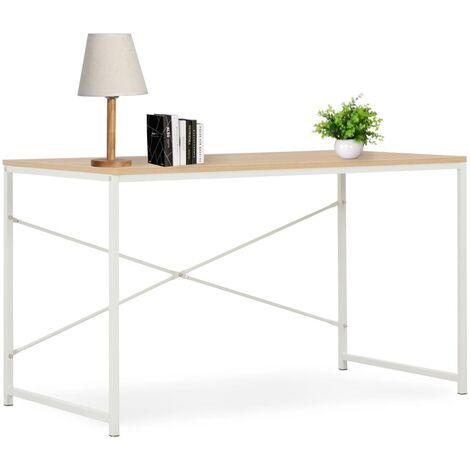 Computertisch Weiß und Eiche 120×60×70 cm
