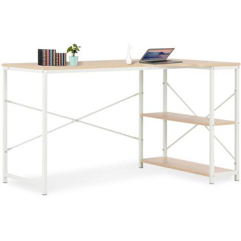Computertisch Weiß und Eiche 120×72×70 cm